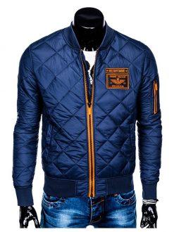 šivana moška bunda modre barve