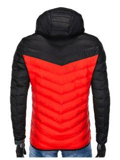 črno rdeča moška zimska bunda